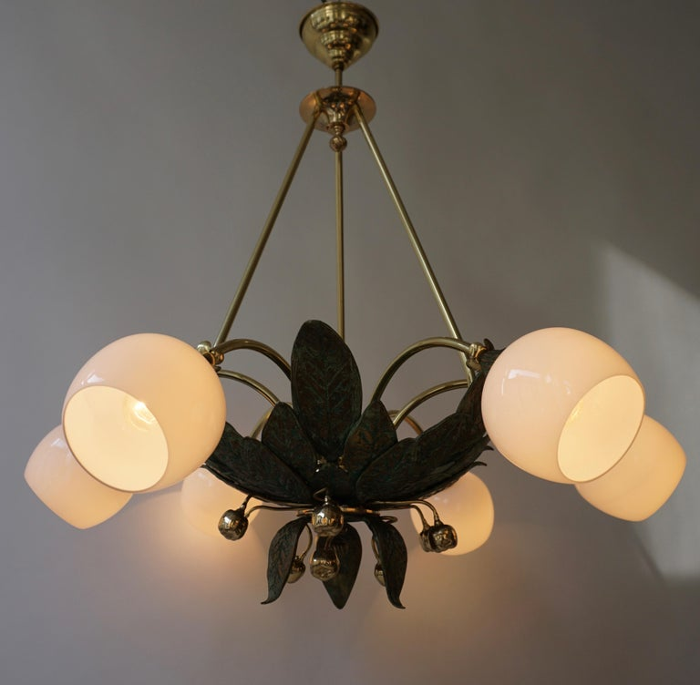 Chandelier in Bronze and Brass with Glass Shades For Sale 5