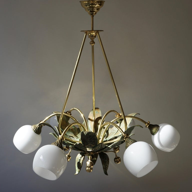 Chandelier in Bronze and Brass with Glass Shades For Sale 7
