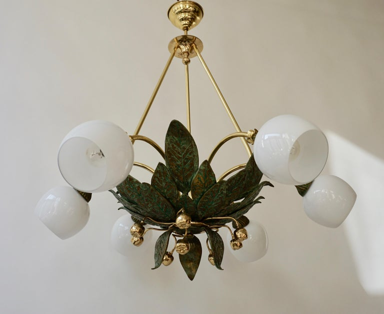 Mid-Century Modern Chandelier in Bronze and Brass with Glass Shades For Sale