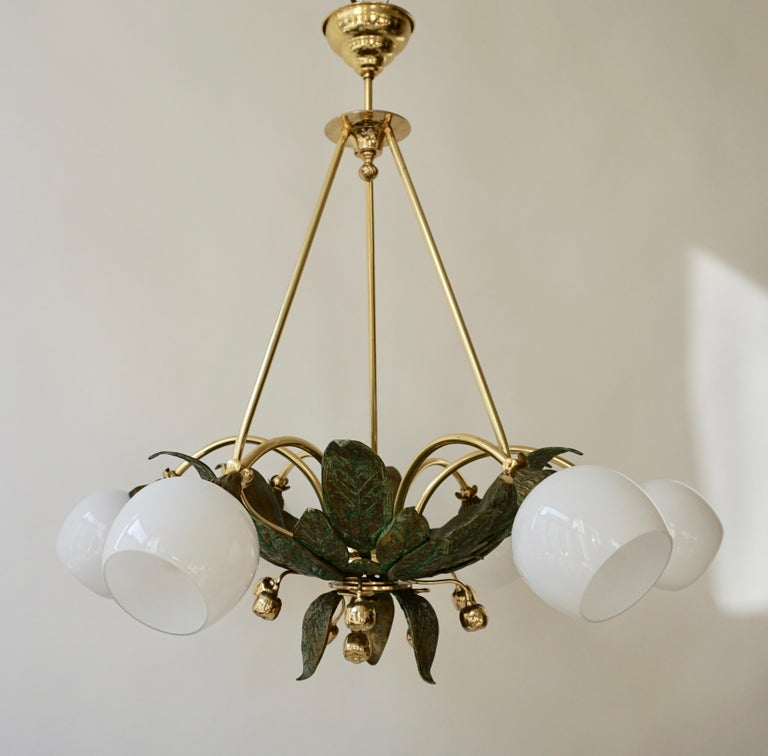 Italian Chandelier in Bronze and Brass with Glass Shades For Sale