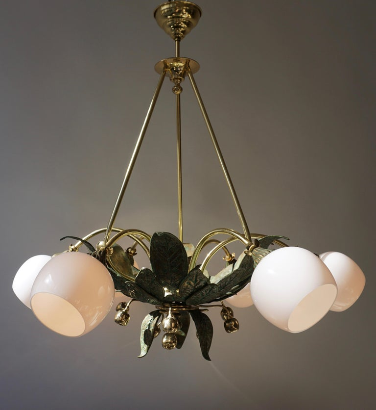 Chandelier in Bronze and Brass with Glass Shades In Good Condition For Sale In Antwerp, BE