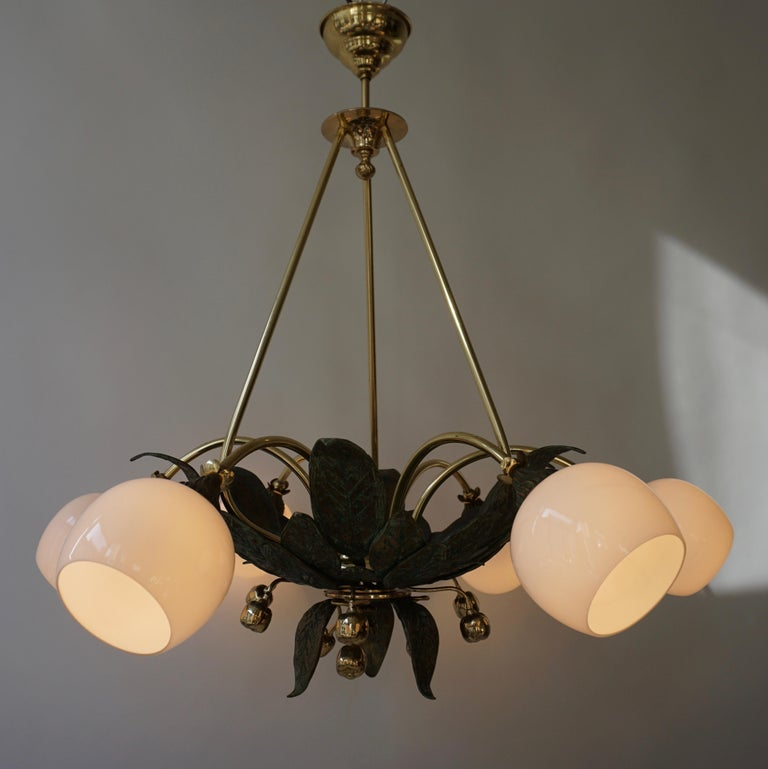 20th Century Chandelier in Bronze and Brass with Glass Shades For Sale
