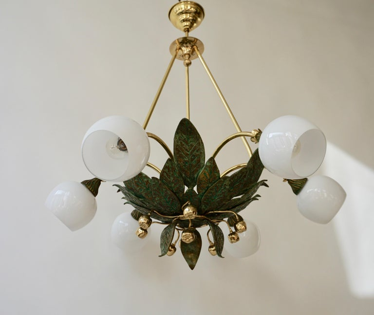 Chandelier in Bronze and Brass with Glass Shades For Sale 1