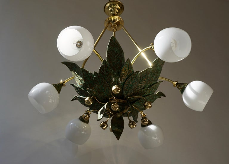 Chandelier in Bronze and Brass with Glass Shades For Sale 3