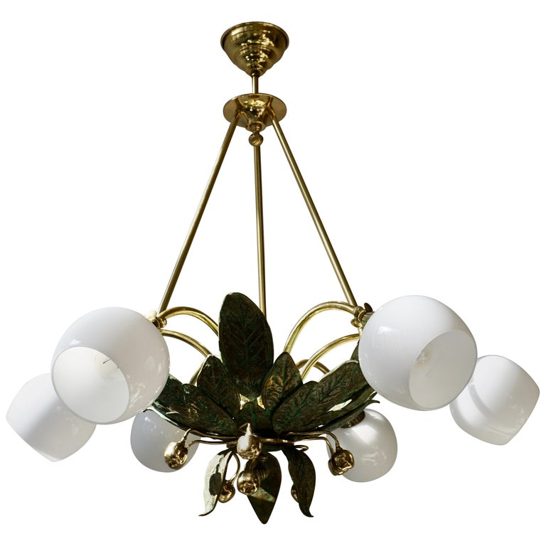 Chandelier in Bronze and Brass with Glass Shades For Sale