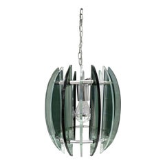 Chandelier in Chrome and Glass in the Style of Fontana Arte, 1970s