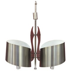 Chandelier in Chromed Metal and Plastic in the Style of Sciolari, circa 1970