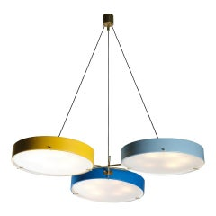 Chandelier in Coloured Laquered Metal in the Style of Bruno Gatta