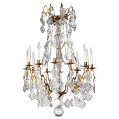 Chandelier in Gilt Bronze and Crystal, Early 19th Century