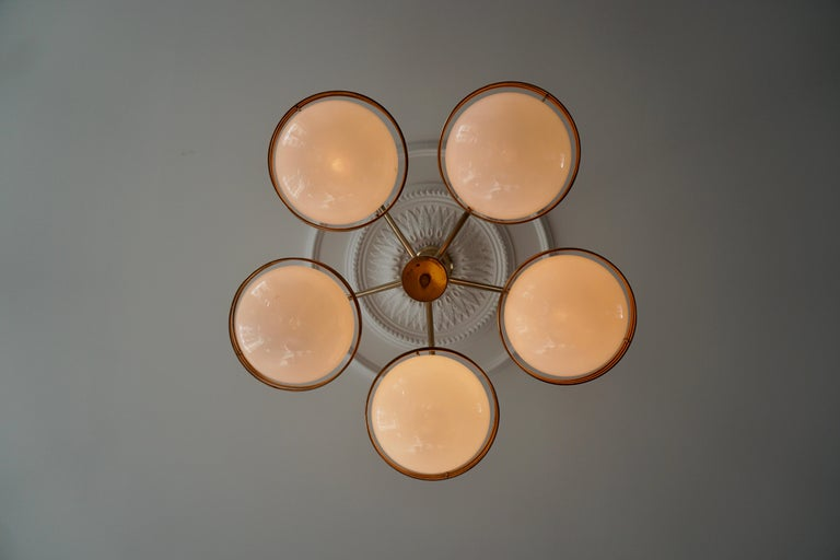 Chandelier in Glass and Brass For Sale 4
