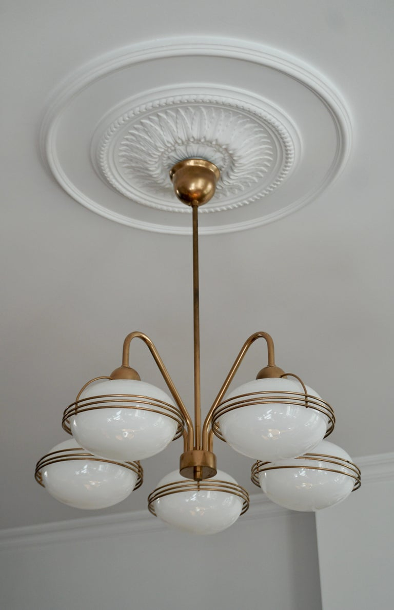 Chandelier in Glass and Brass For Sale 5