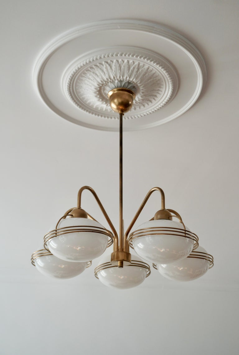 Italian Chandelier in Glass and Brass For Sale