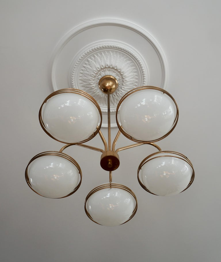 20th Century Chandelier in Glass and Brass For Sale