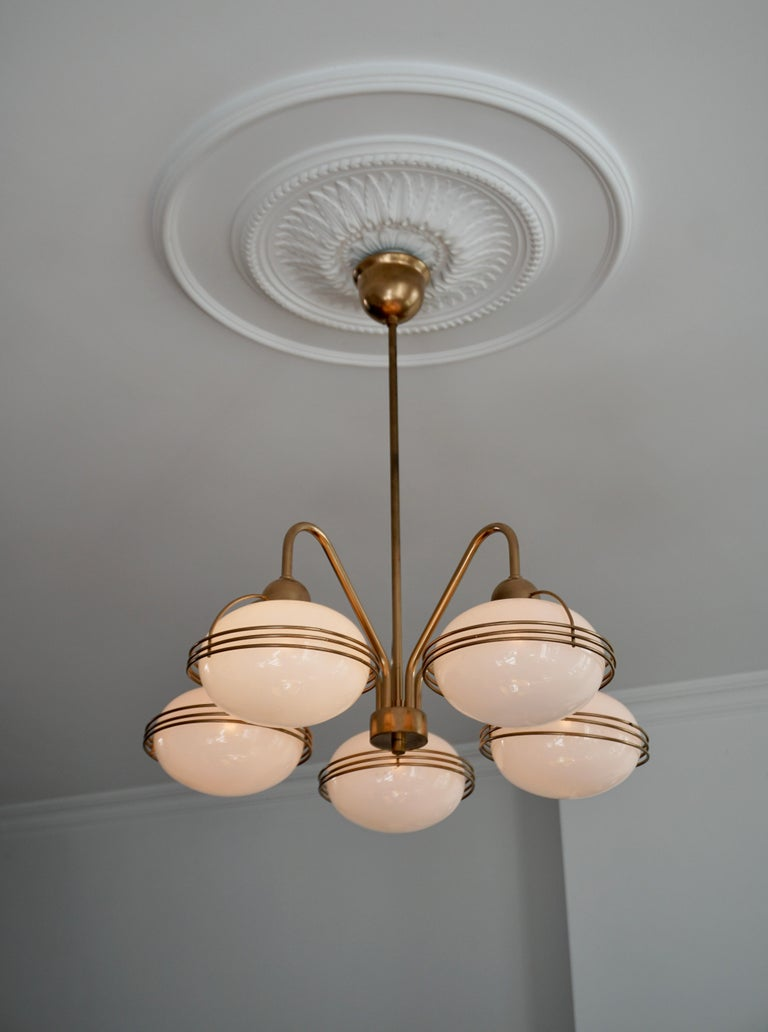 Chandelier in Glass and Brass For Sale 3