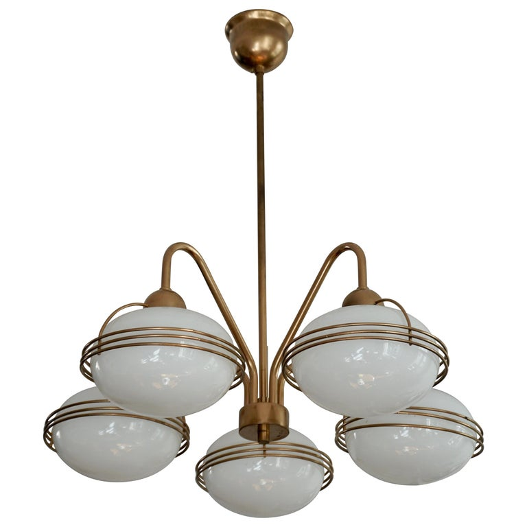 Chandelier in Glass and Brass For Sale