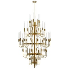 Chandelier in Gold-Plated Brass with Clear Crystal Glass
