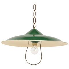 Chandelier in Green Glazed Metal Pendant Italy, Industrial Style of the 1950s