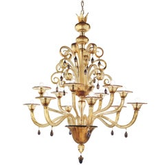 "Chandelier in Murano Glass ""Vittoriale"" by Napoleone Martinuzzi for Venini"