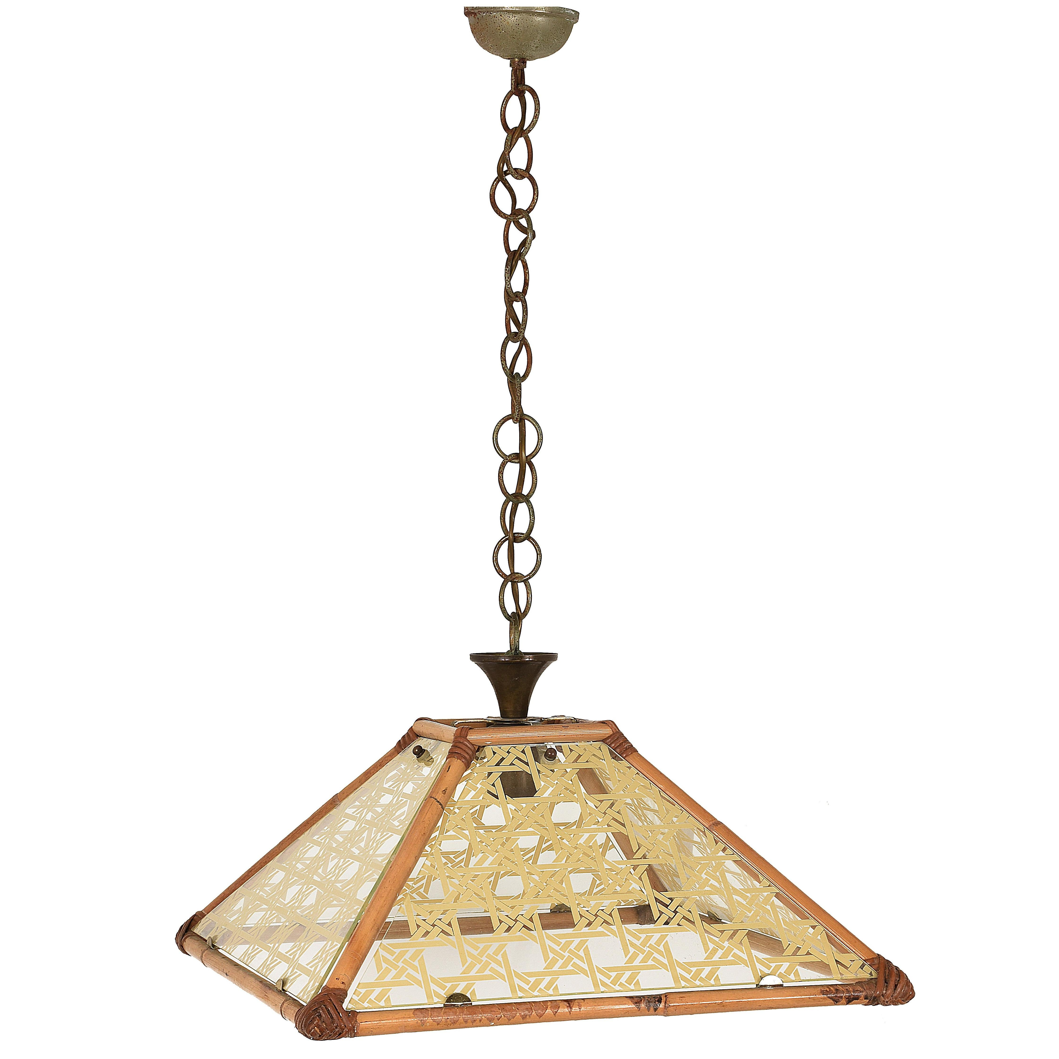 Chandelier in Textured Glass, Rattan, Bamboo and Brass, Pendant Italy, 1970s