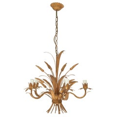 Chandelier in the Style of Maison Jansen, in Guilt Metal, Wheat Shaped Lights