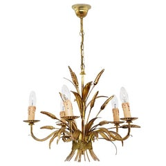 Chandelier in the Style of Maison Jansen, in Guilt Metal, Wheat Shapped Lights