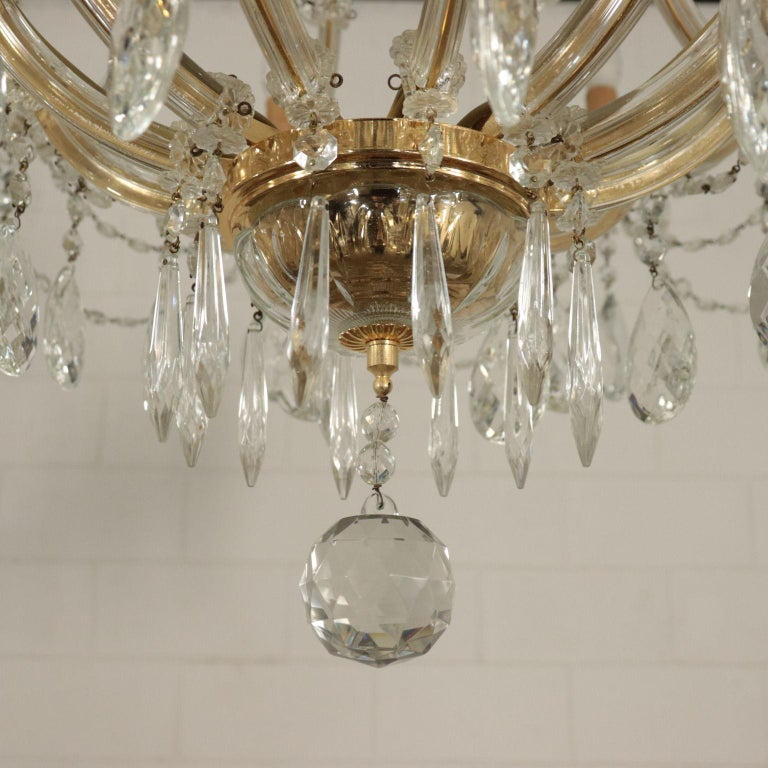 Chandelier in the Style of Maria Theresa Glass, Italy, 20th Century For Sale 6