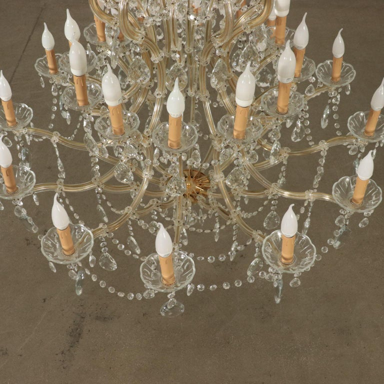 Chandelier in the Style of Maria Theresa Glass, Italy, 20th Century For Sale 7