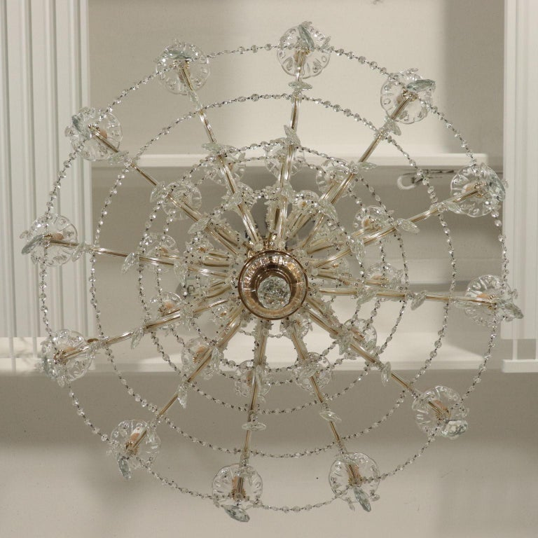 Chandelier in the Style of Maria Theresa Glass, Italy, 20th Century For Sale 8