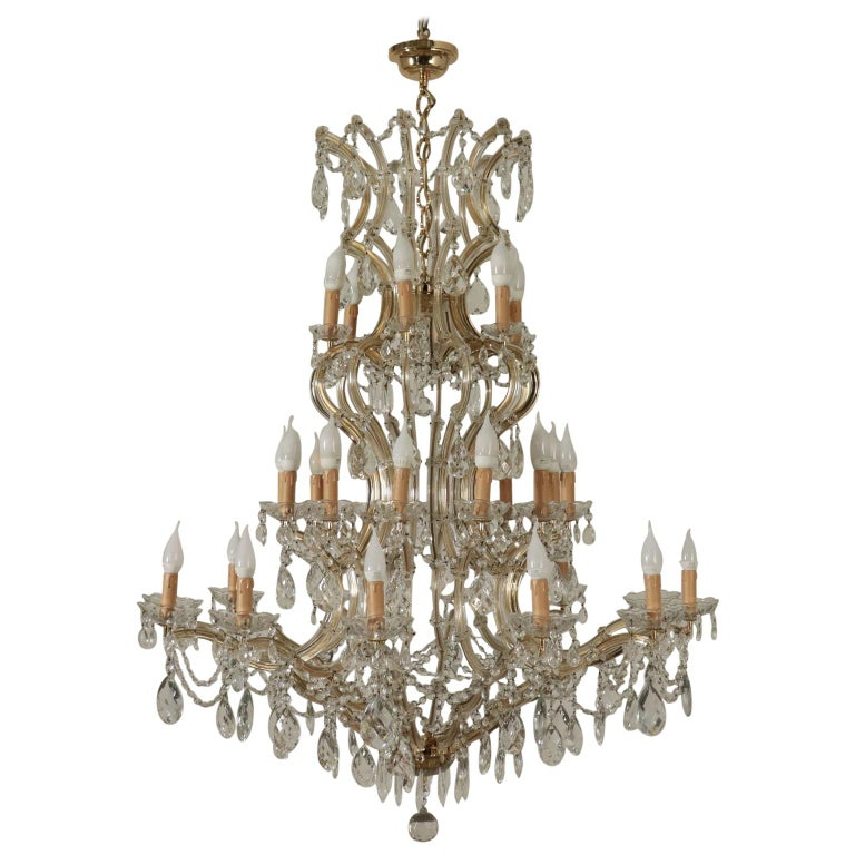Chandelier in the Style of Maria Theresa Glass, Italy, 20th Century For Sale