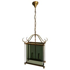 Mid Century Chandelier Brass Smoked Glass in the Style of Pietro Chiesa 1960s