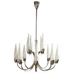 Mid Century Chandelier in the Style of Stilnovo Murano Glass Brass Italy 1950s