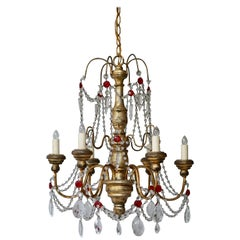 Chandelier in Wood and Crystal
