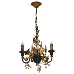 Chandelier in Wood and Gilded Metal