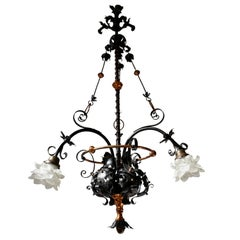 Chandelier in Wrought Iron and Brass