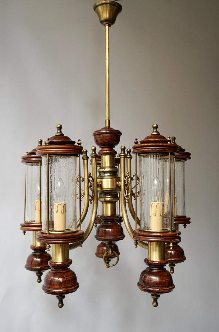 Chandelier is Glass, Brass and Wood For Sale 4