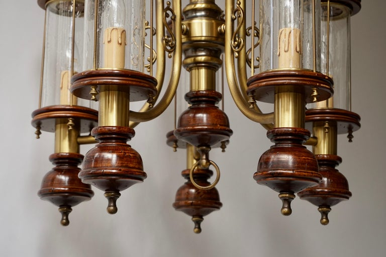 Chandelier is Glass, Brass and Wood For Sale 5