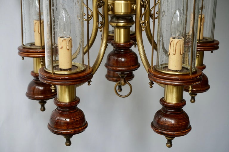 Chandelier is Glass, Brass and Wood For Sale 6