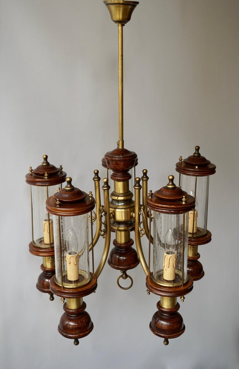 Chandelier is Glass, Brass and Wood For Sale 8