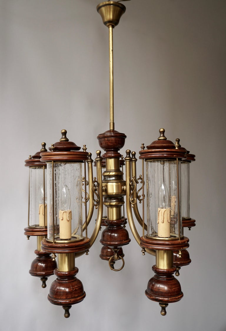 Chandelier is Glass, Brass and Wood For Sale 9