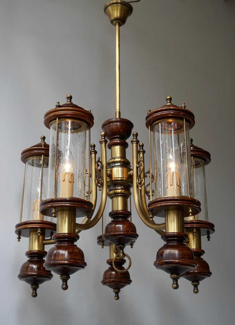 Hollywood Regency Chandelier is Glass, Brass and Wood For Sale