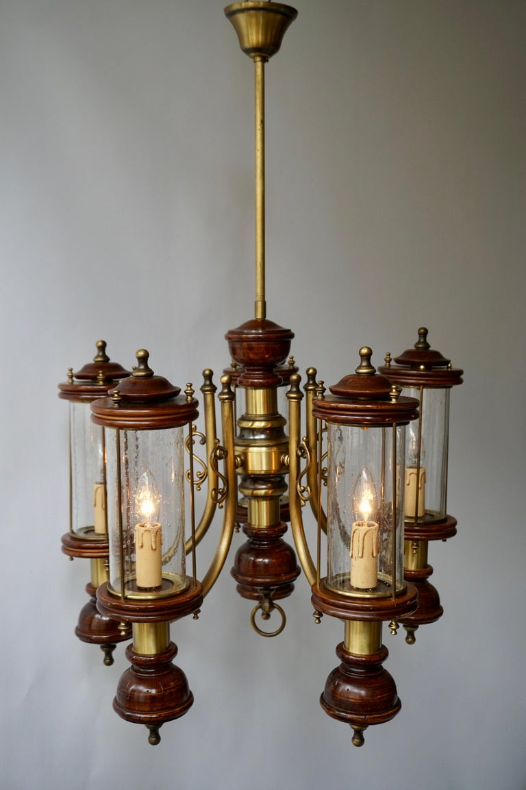 Italian Chandelier is Glass, Brass and Wood For Sale