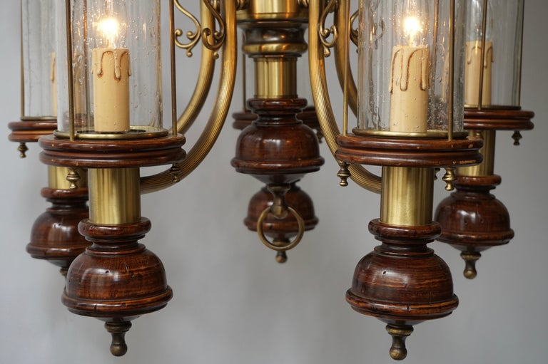 20th Century Chandelier is Glass, Brass and Wood For Sale