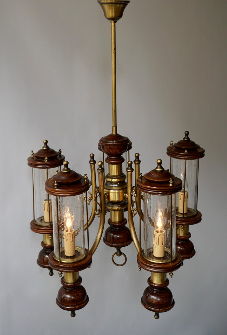Chandelier is Glass, Brass and Wood For Sale 1