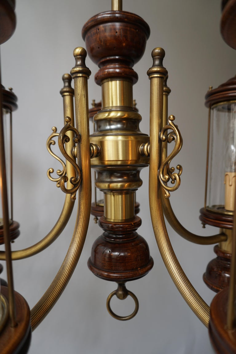 Chandelier is Glass, Brass and Wood For Sale 2
