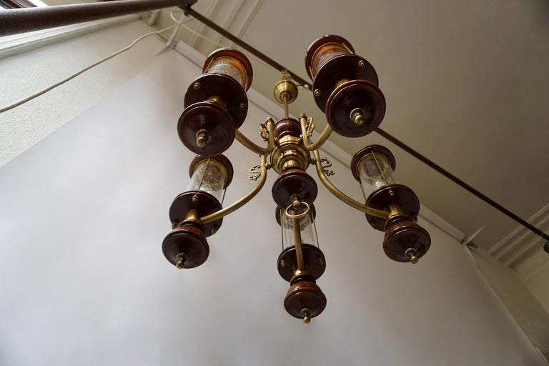 Chandelier is Glass, Brass and Wood For Sale 3