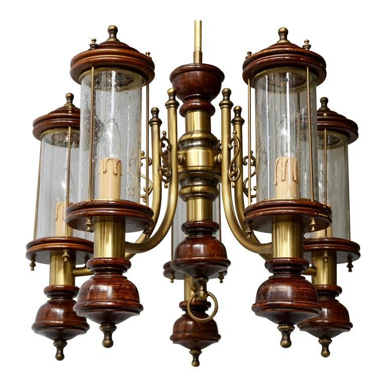 Chandelier is Glass, Brass and Wood For Sale