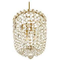 Chandelier J. & L. Lobmeyr Vienna Mid-Century Modern Brass 1950s Crystal