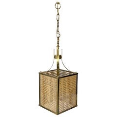 Chandelier Lantern in Rattan Brass and Glass, Italy, 1970s