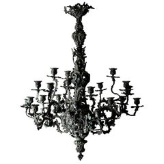 Chandelier Large New Rococo 19th Century Green Sweden