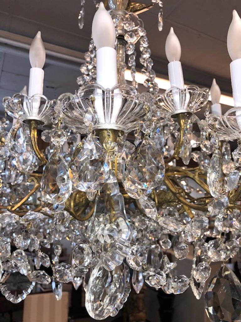 European Chandelier Maria Teresa Style with Crystal Ornaments For Sale